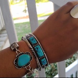 Native American sterling Turquoise link bracelet
